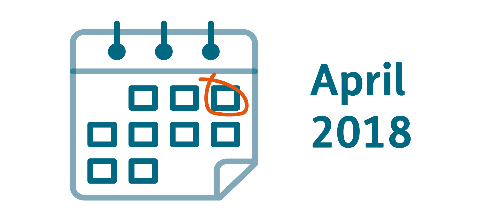 Calendar graphic with text saying April 2018